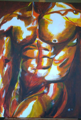 Torso  135,- Deze afbeelding spreekt voor zich, het straalt puur machtsvertoon uit.  Bij dit doek heb ik alleen gebruik gemaakt van de kleuren rood, geel en blauw. En nee, voor de witte vlakken heb ik witte verf gebruikt, daar heb ik het doek gewoon wit g