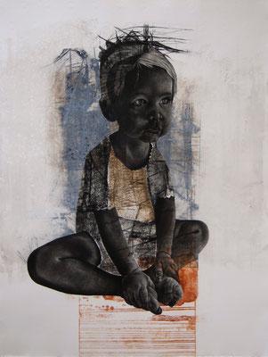 tOG No.13 - Tina Wohlfarth - Kind I / 8 - Unikat, Mezzotinto / Kaltnadel / Reservage Prägung auf Kupferdruckbütten, 97 x 74 cm, 2013