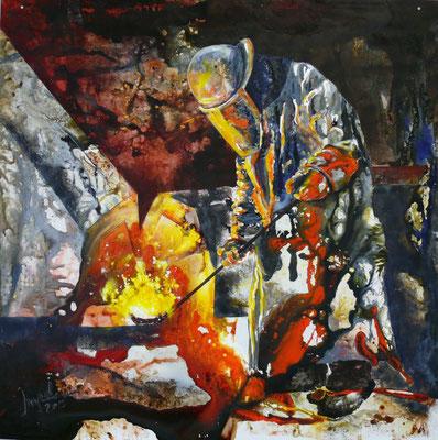 "DI-tOG 001 Werk Dorothee Impelmann ""Feuergeister Va"" - 2015 - 100 x 100 x 0,1 cm, Mixed Media tOG-Düsseldorf (c) Dorothee Impelmann"