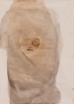 tOG No.19 - Tina Wohlfarth - Zuletzt - Bitumen / Öl auf Papier, 88 x 63 cm - 100 x 70 cm mit Rahmen, 2013