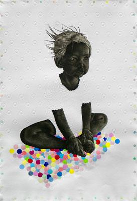 tOG No.11 - Tina Wohlfarth - Kind I / 1 - Unikat, Mezzotinto / Prägung / Acryl auf Kupferdruckbütten, 116 x 78 cm, 2013