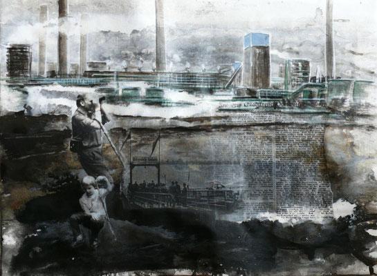 "DI-tOG 027 Werk Dorothee Impelmann ""Heimat-Geschichten I"" - 2014 - 45 x 60 x 1,9 cm, Mixed Media unter Plexiglas in Aluschiene - tOG-Düsseldorf (c) Dorothee Impelmann"