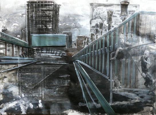 """DI-tOG 029 Werk Dorothee Impelmann """"Heimat-Geschichten III"""" - 2014 - 45 x 60 x 1,9 cm, Mixed Media unter Plexiglas in Aluschiene - tOG-Düsseldorf (c) Dorothee Impelmann"""