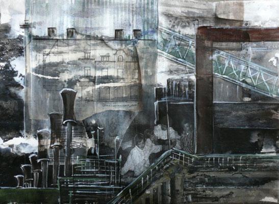 """DI-tOG 030 Werk Dorothee Impelmann """"Heimat-Geschichten IV"""" - 2014 - 45 x 60 x 1,9 cm, Mixed Media unter Plexiglas in Aluschiene - tOG-Düsseldorf (c) Dorothee Impelmann"""