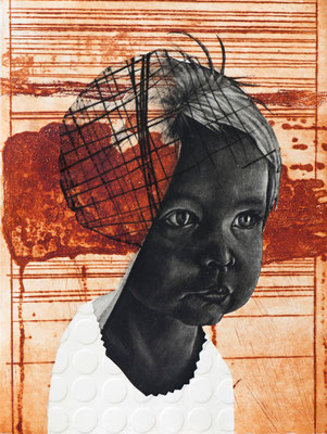 tOG No.12 - Tina Wohlfarth - Kind I / 2 - 1 / 3, Mezzotinto / Kaltnadel / Reservage Prägung auf Kupferdruckbütten, 45,5 x 34,5 cm, 2013