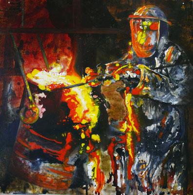 "DI-tOG 002 Werk Dorothee Impelmann ""Feuergeister VIa"" - 2015 - 100 x 100 x 0,1 cm, Mixed Media tOG-Düsseldorf (c) Dorothee Impelmann"