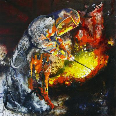 """DI-tOG 002 Werk Dorothee Impelmann """"Feuergeister VIb"""" - 2015 - 100 x 100 x 0,1 cm, Mixed Media tOG-Düsseldorf (c) Dorothee Impelmann"""
