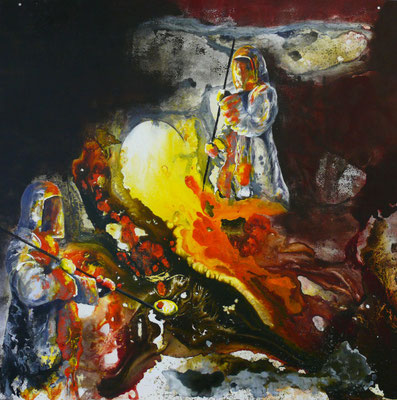 "DI-tOG 003 Werk Dorothee Impelmann ""Feuergeister VIIb"" - 2015 - 100 x 100 x 0,1 cm, Mixed Media tOG-Düsseldorf (c) Dorothee Impelmann"