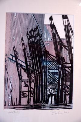 """DI-tOG 039 Werk Dorothee Impelmann """"Work Flow I"""" - 2010 - 40 x 30 x 3,5 cm, Mixed Media unter Glas in weißem Bilderrahmen - tOG-Düsseldorf (c) Dorothee Impelmann"""