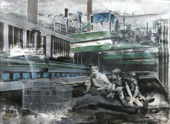 """DI-tOG 028 Werk Dorothee Impelmann """"Heimat-Geschichten II"""" - 2014 - 45 x 60 x 1,9 cm, Mixed Media unter Plexiglas in Aluschiene - tOG-Düsseldorf (c) Dorothee Impelmann"""