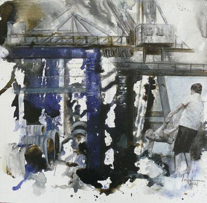 "DI-tOG 036 Werk Dorothee Impelmann ""Mein Revier - IX"" - 2012 - 40 x 40 x 2 cm, Mixed Media - tOG-Düsseldorf (c) Dorothee Impelmann"