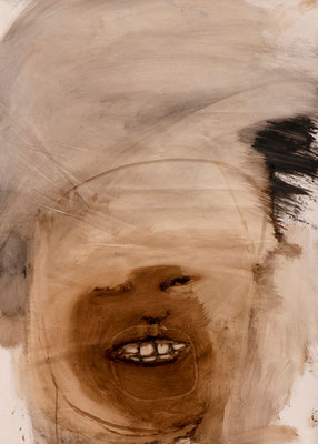 tOG No.21 - Tina Wohlfarth - Breites Gesicht - Bitumen / Öl auf Papier, 88 x 63 cm - 100 x 70 cm mit Rahmen, 2013