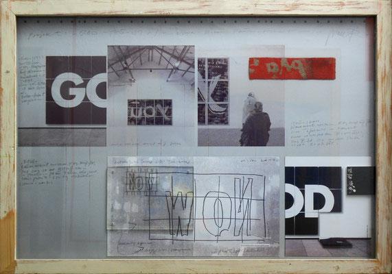"tOG Nr. C.U.F. 056 - Künstler C.U. FRANK - Werk Titel ""Projektskizze - Trilogie GOD / YOU / NOW"", 2004, mit Rahmen - mixed media - 77 x 107 x 4 cm,  (c) tOG-Düsseldorf"