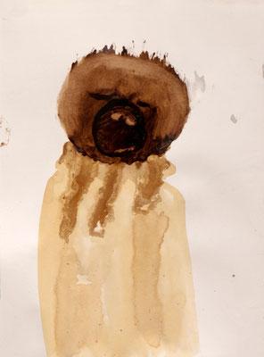 tOG No.22 - Tina Wohlfarth - Infans II - Triptychon- Bitumen / Kaffee  auf Papier, 30,5 x 22,5 cm - 111 x 27 cm alle für drei mit Rahmen, 2012