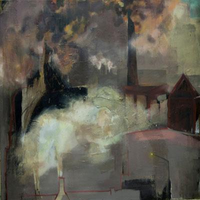 tOG No.03 - Burg und Fabrik - Öl und Bitumen auf Leinwand - 100 x 100 x 2 cm