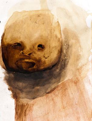 tOG No.22 - Tina Wohlfarth - Infans II - Triptychon- Bitumen / Kaffe / Tusche auf Papier, 30,5 x 22,5 cm - 111 x 27 cm alle für drei mit Rahmen, 2012