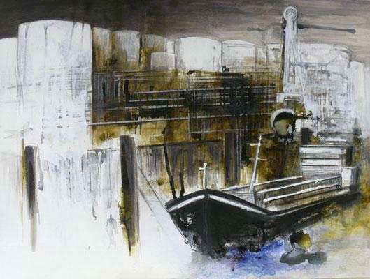 """DI-tOG 022 Werk Dorothee Impelmann """"Hafenbecken I"""" unter Plexiglas in Aluschiene - 2013 - 75 x 100 x 1,9 cm, Mixed Media tOG-Düsseldorf (c) Dorothee Impelmann"""