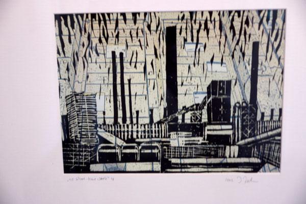 """DI-tOG 048 Werk Dorothee Impelmann """"no short time work 4"""" - 2009 - 40 x 50 x 3,5 cm, Mixed Media unter Glas in weißem Bilderrahmen - tOG-Düsseldorf (c) Dorothee Impelmann"""