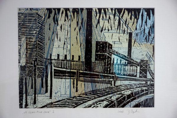 """DI-tOG 046 Werk Dorothee Impelmann """"no short time work 2"""" - 2009 - 40 x 50 x 3,5 cm, Mixed Media unter Glas in weißem Bilderrahmen - tOG-Düsseldorf (c) Dorothee Impelmann"""