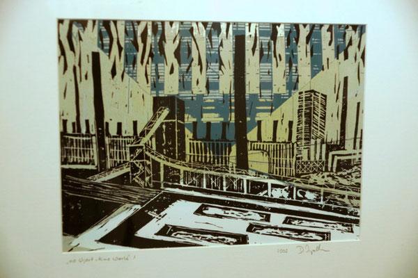 """DI-tOG 045 Werk Dorothee Impelmann """"no short time work 1"""" - 2009 - 40 x 50 x 3,5 cm, Mixed Media unter Glas in weißem Bilderrahmen - tOG-Düsseldorf (c) Dorothee Impelmann"""
