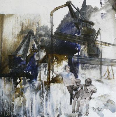 """DI-tOG 034 Werk Dorothee Impelmann """"Mein Revier - VII"""" - 2012 - 40 x 40 x 2 cm, Mixed Media - tOG-Düsseldorf (c) Dorothee Impelmann"""