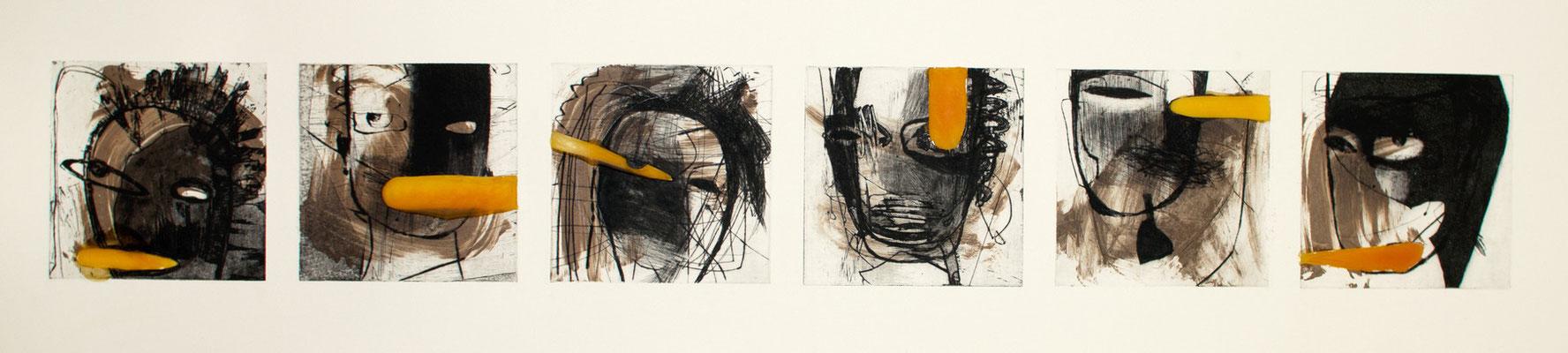 tOG No.17 - Tina Wohlfarth - Kopfzeile V,  1 / 2 - Aquatinta / Kaltnadel / Reservage / Bitumen / Wachs auf Kupferdruckbütten, 134 x 20 cm - 55,5 x 172,5 cm Objektrahmen, 2013
