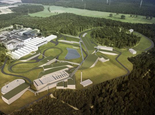 Fotomontage des Teilchenbeschleunigers FAIR in Darmstadt