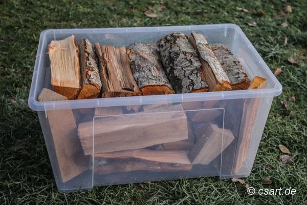 Für 3 Tage heizen benötigten wir 2 solche Ikea Kisten mit Holz