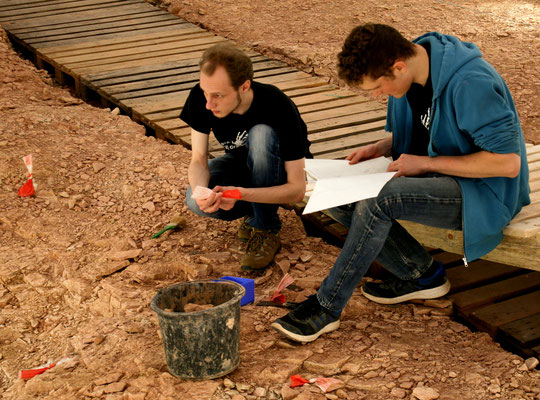 Max und Nils auf Fossiljagd.