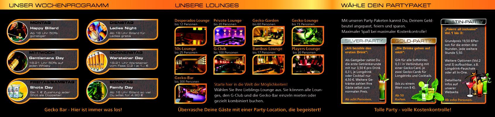 Gecko Bar - Flyer Dreifach Falz - Innenseite 1-3