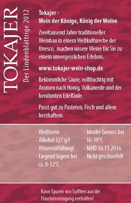 Tokajer :: Etiketten- Rückseite für Jahres-Reinweine