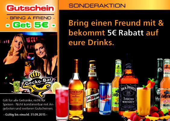 Gecko Bar :: Flyer Dreifach Falz - Gutschein Einleger Vorn