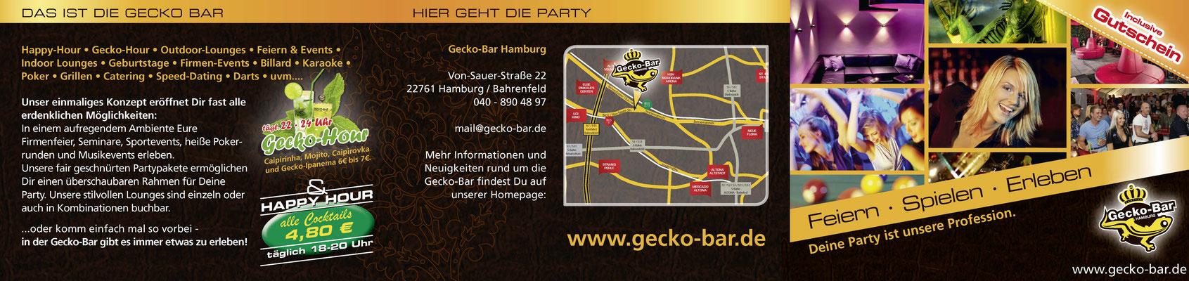 Gecko Bar - Flyer Dreifach Falz - Innenseite 4 - Rücktitel - Titel