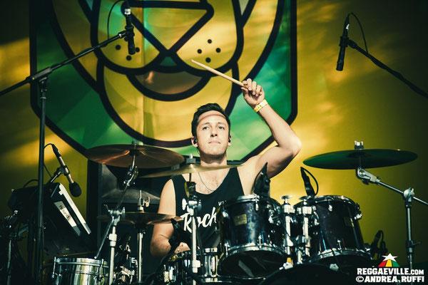 Drummer Alex Domhoever playing live at the Overjam Reggae Festival in Tolmin, Slovenia