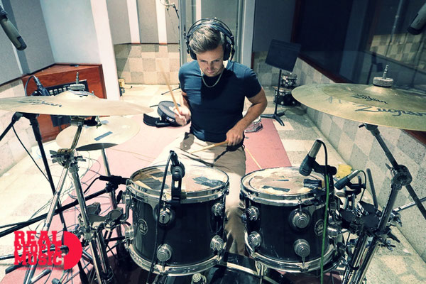 Alex Domhoever recording drums for his production at Anchor studio in Kingston, Jamaica