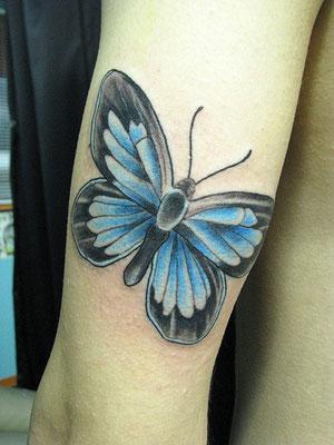 蝶 カラー タトゥー 洋彫り