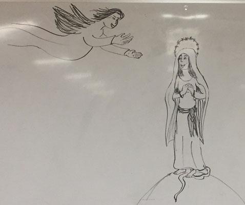 Un dessin original pour l'occasion : l'Annonciation (à main levée, de Clarisse)