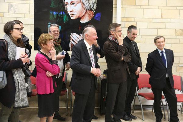 Les officiels : M. Pueyo, député-maire d'Alençon, Mgr Habert, évêque de Sées, entre autres