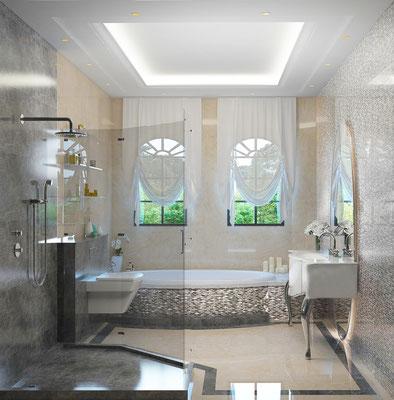 Render de cuarto de baño. 3D