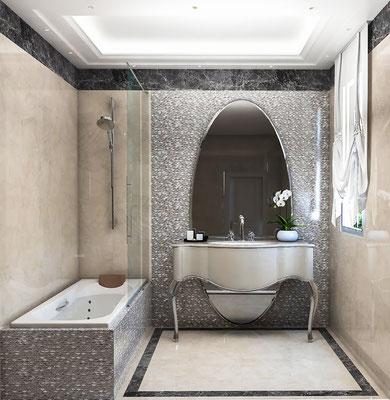 Infografía de cuarto de baño. 3D