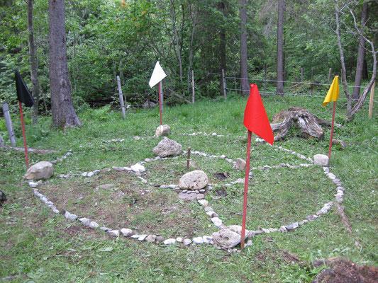 Stein-Erd-Rad mit Richtungsfarben-Wimpeln