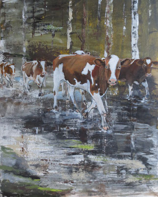 """Kühe"" - Acryl und Öl auf Malpappe, 50 x 40, 2018"