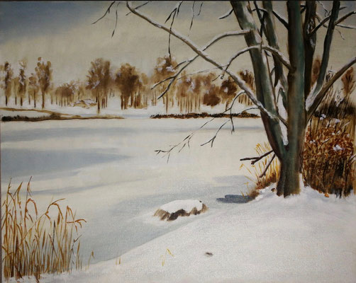 """Winter am Krimpelsee"" - Öl auf Malpappe, 40 x 50, 2019"