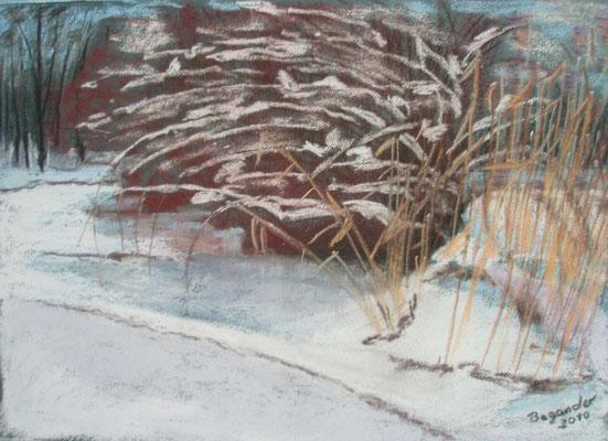 """""""Bremen - Schneelast"""" - Pastell, 30 x 40, 2010"""