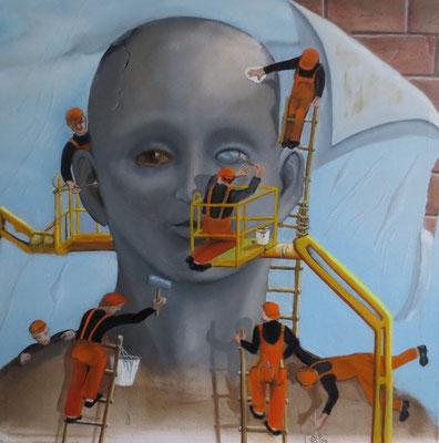 """Plakatmaler"" - Öl auf Leinwand, 50 x 50, 2016"