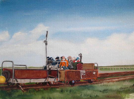 """""""Langeness - Besuch vom Festland"""" - Öl auf Leinwand, 18 x 24, 2012"""