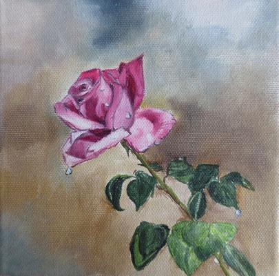 """""""Rosengruß"""" - Öl auf Leinwand, 15 x 15, 2019"""