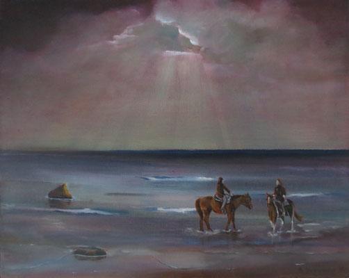"""Zwei Reiter am Strand"" - Öl auf Leinwand, 40 x 50, 2016"