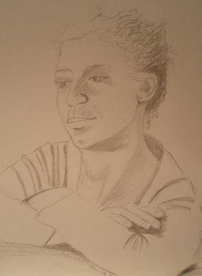 """""""Alina"""" - Bleistiftzeichnung, 40 x 30, 2011"""