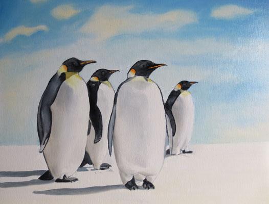 """Pinguine"", Öl auf Malpappe, 40 x 50, 2018"